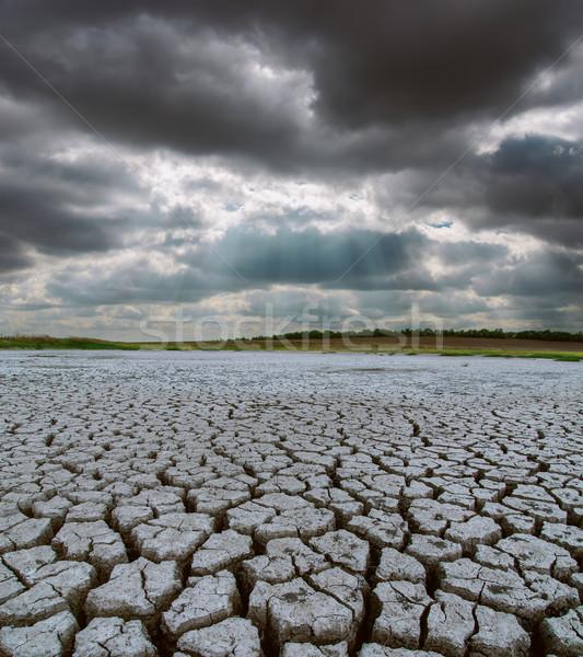 Droogte grond dramatisch hemel landschap storm Stockfoto © mycola
