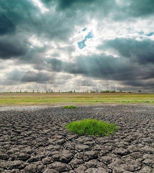 Seca terra dramático céu textura pôr do sol Foto stock © mycola