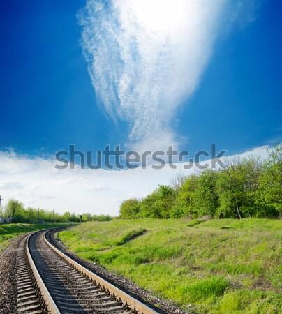 Przeciwmgielne horyzoncie tle zielone prędkości Zdjęcia stock © mycola