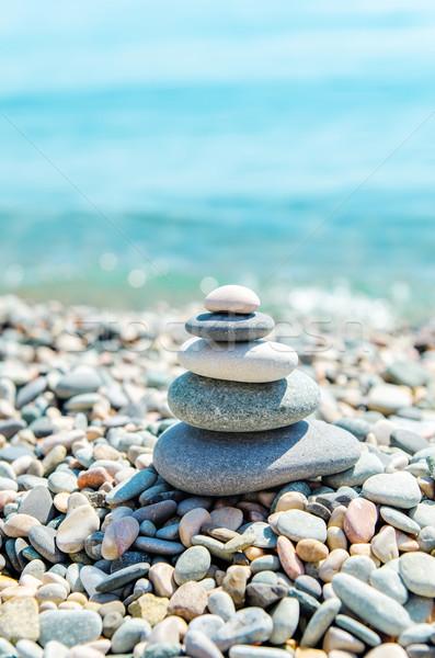 Zen stenen zee water gezondheid Stockfoto © mycola