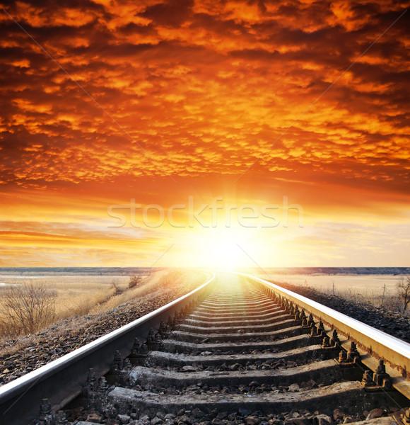 Chemin de fer coucher du soleil soleil résumé paysage orange Photo stock © mycola