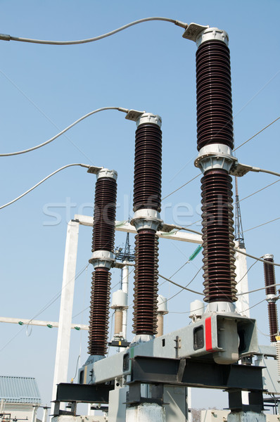 part of high-voltage substation with disconnectors Stock photo © mycola