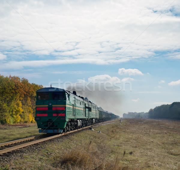 Vieux locomotive ciel forêt technologie bleu Photo stock © mycola