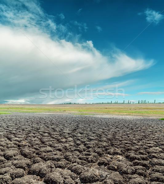 Globalne ocieplenie dramatyczny niebo pęknięty ziemi świetle Zdjęcia stock © mycola