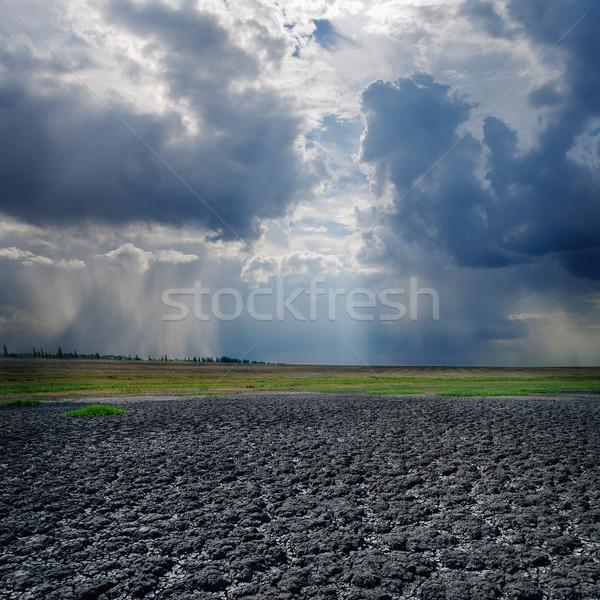 Droogte grond dramatisch hemel wolken textuur Stockfoto © mycola