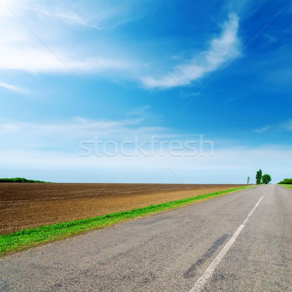 Asfalt drogowego horyzoncie mętny niebo wiosną Zdjęcia stock © mycola