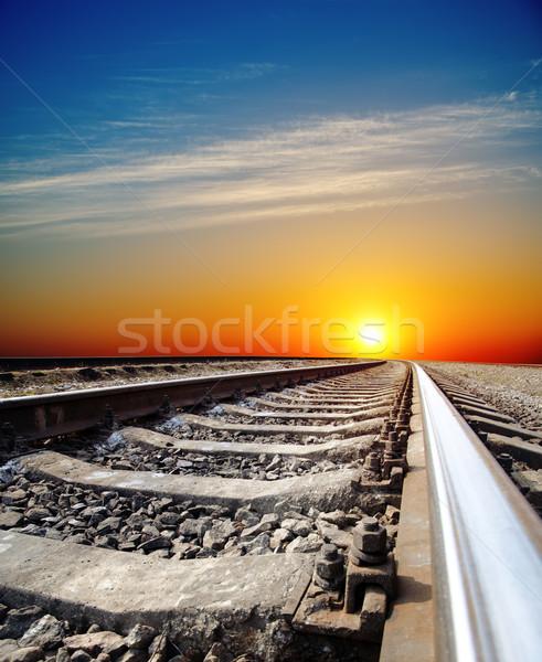 Demiryolu gün batımı gökyüzü yol manzara arka plan Stok fotoğraf © mycola
