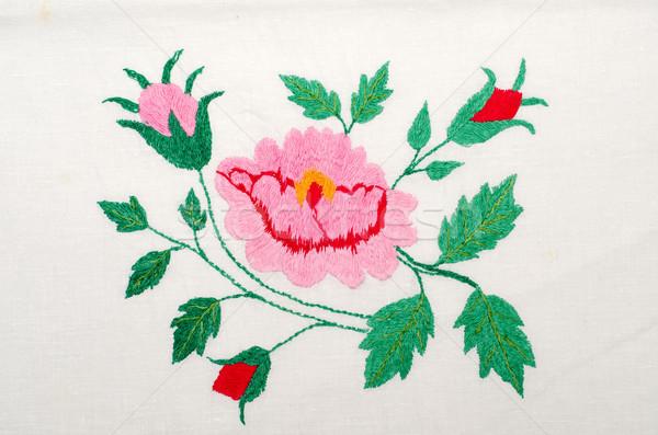 Rosas bordado bom moda abstrato folha Foto stock © mycola