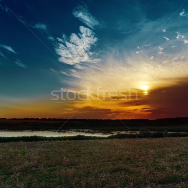 good sunset over river Stock photo © mycola