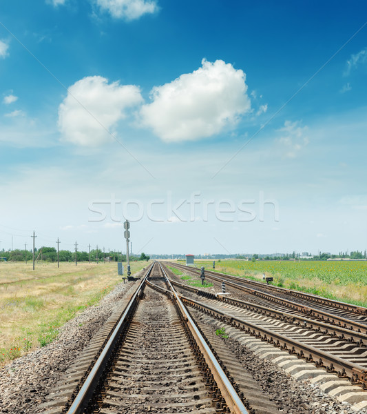crossing of two railroads and blue sky with clouds Stock photo © mycola