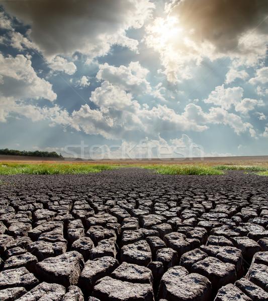 Quente sol rachado terra textura pôr do sol Foto stock © mycola