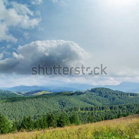 Stock photo: soft lights clouds and green mountains. Ukrainian Carpathians