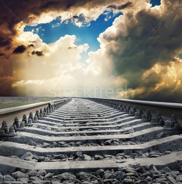 Kolej żelazna horyzoncie drogowego słońce streszczenie wygaśnięcia Zdjęcia stock © mycola