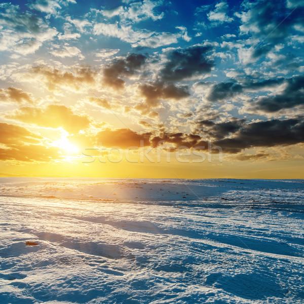 orange sunset over meadow in winter Stock photo © mycola