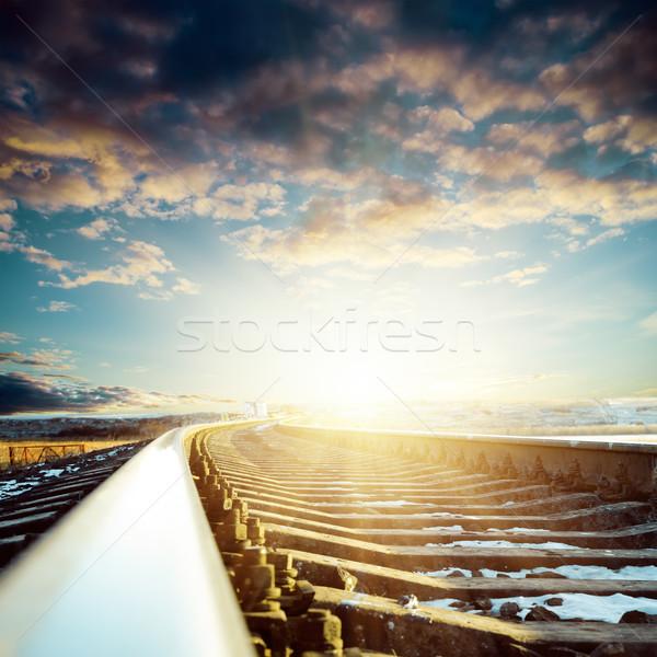 Ferrovia pôr do sol céu estrada luz Foto stock © mycola