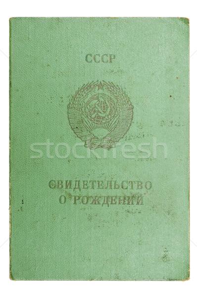 Szovjetúnió születés bizonyítvány izolált fehér felirat Stock fotó © mycola
