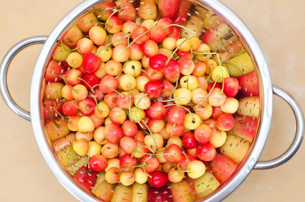fresh cherry in colander Stock photo © mycola