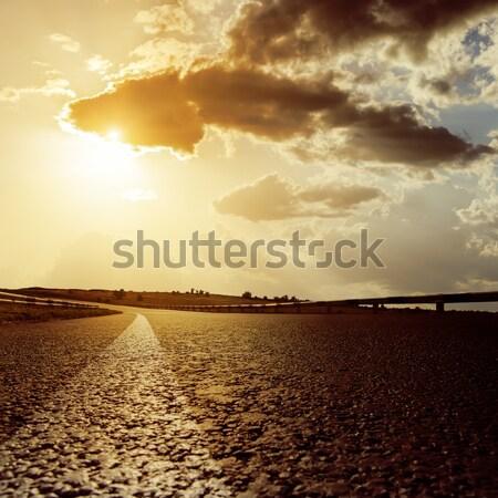 Droogte grond dramatisch hemel textuur landschap Stockfoto © mycola