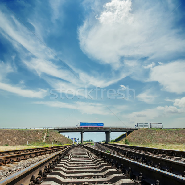 crossing of railroad to horizon and bridge with car over it Stock photo © mycola