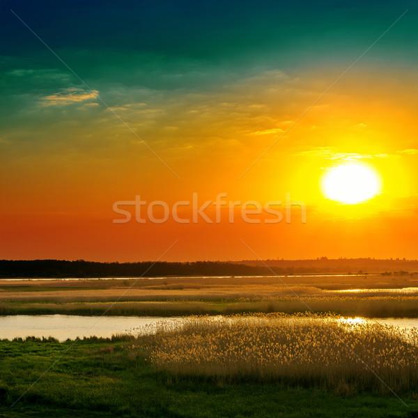 Dramatischen Sonnenuntergang Fluss Wasser Gras Sonne Stock foto © mycola