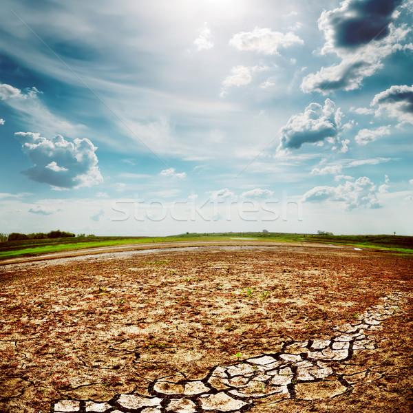 Woestijn aarde scheuren dramatisch hemel zon Stockfoto © mycola