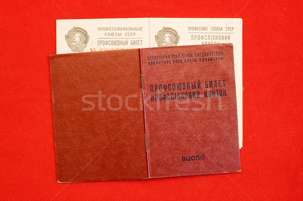 union card of USSR over red Stock photo © mycola