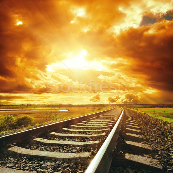dramatic sky and railroad Stock photo © mycola