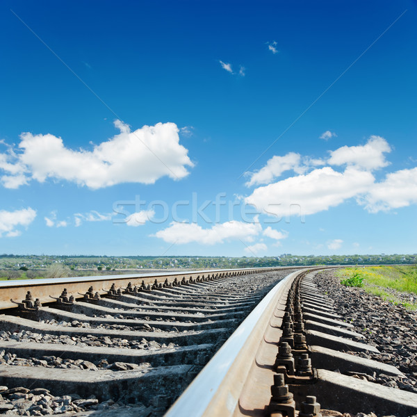 railroad to horizon under blue cloudy sky Stock photo © mycola