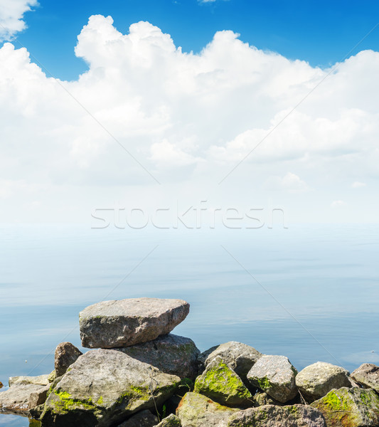 white clouds in blue sky over water Stock photo © mycola