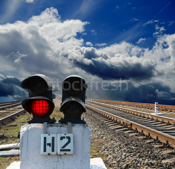 red semaphore on the rail road Stock photo © mycola