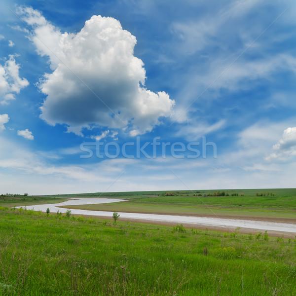 Rio grama verde nublado céu grama paisagem Foto stock © mycola