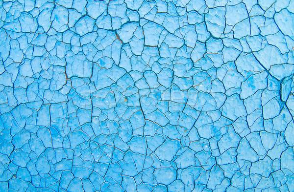 blue cracked paint Stock photo © mycola