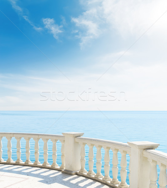 Balkon zee wolken water home Stockfoto © mycola