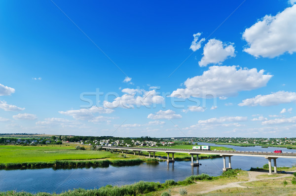 long bridge over river Ingul, Ukraine Stock photo © mycola
