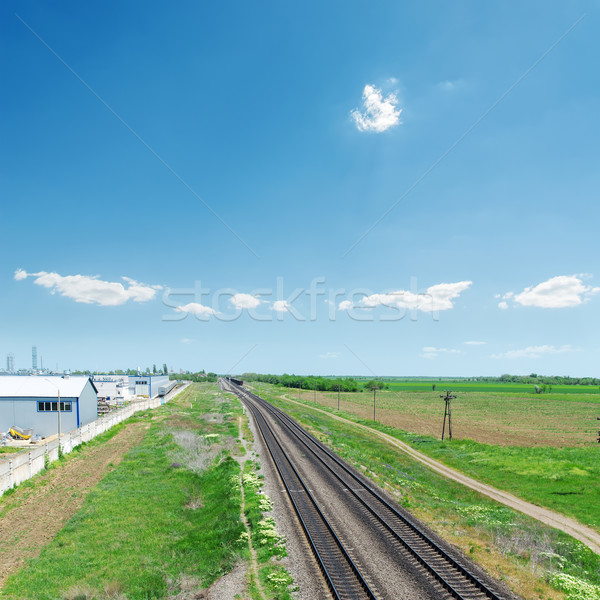 railroad in green fields and blue sky Stock photo © mycola