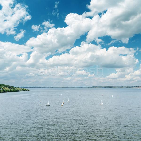 Rio branco nublado céu água grama Foto stock © mycola