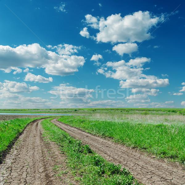 Kırsal yol yeşil manzara bulutlu ufuk Stok fotoğraf © mycola