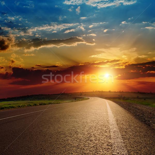 beautiful sunset over asphalt road Stock photo © mycola