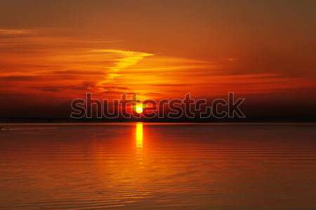 sunset over water surface with small boat Stock photo © mycola