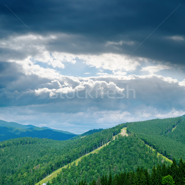 dramatic low clouds over green mountain Stock photo © mycola