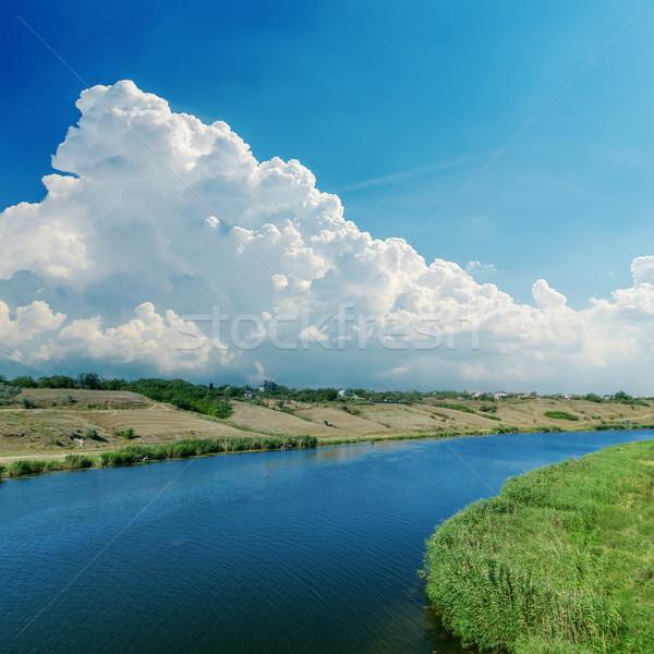 Hemel wolken rivier zomer landschap water Stockfoto © mycola