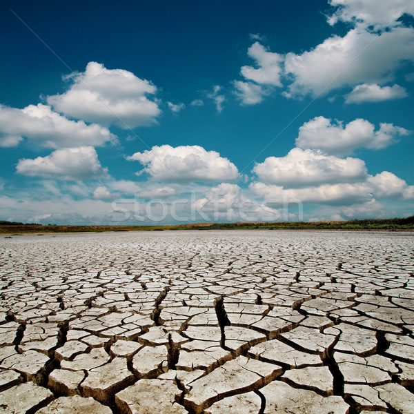 global warming. dramatic sky over cracked earth Stock photo © mycola
