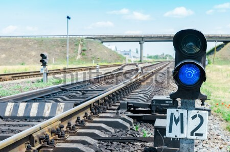 Azul ferrocarril metal signo viaje urbanas Foto stock © mycola
