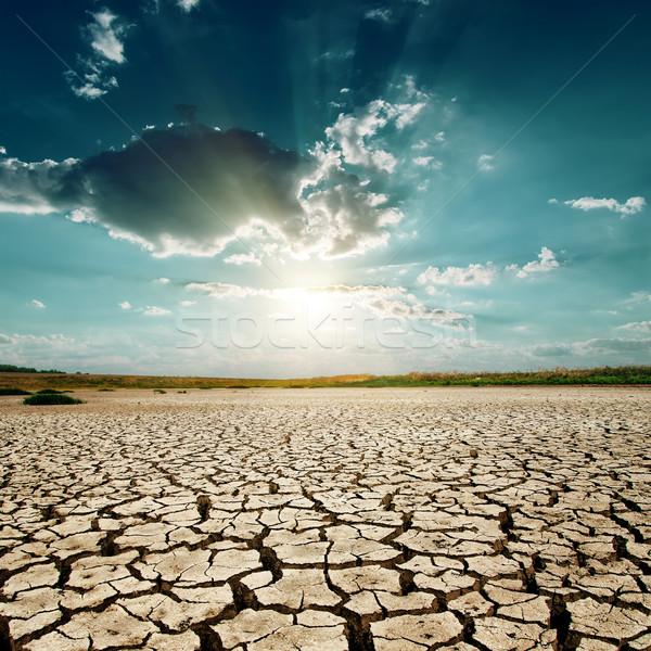 Globális felmelegedés naplemente sivatag tájkép nyár napfelkelte Stock fotó © mycola