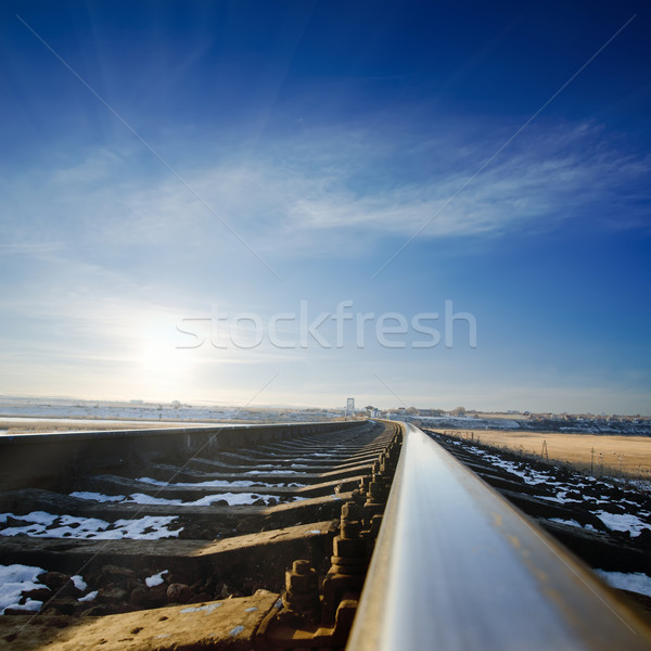 railroad to sunset. winter time Stock photo © mycola