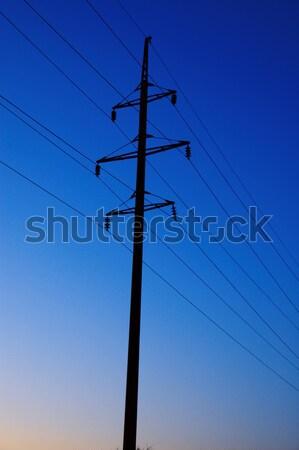 Elektrische pijler diep avond bouw technologie Stockfoto © mycola