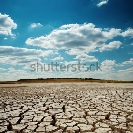 dramatic sky with clouds over cracked desert Stock photo © mycola
