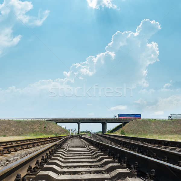 Chemin de fer horizon pont route train bleu Photo stock © mycola