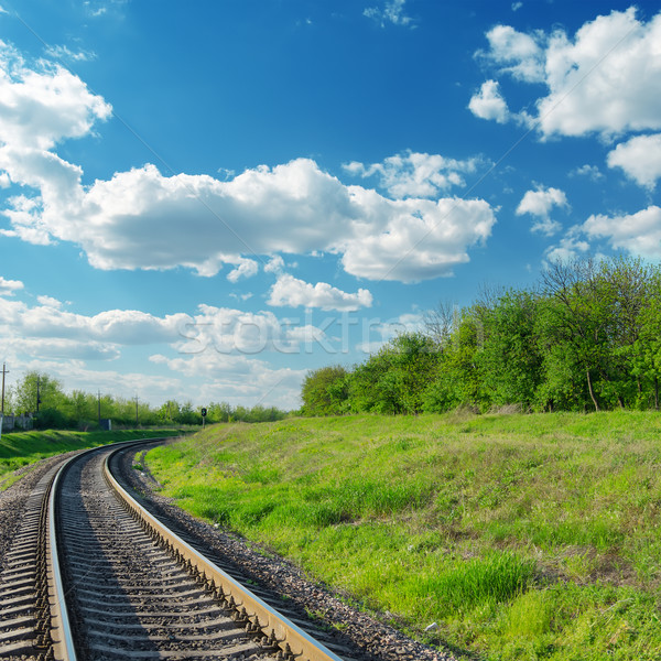 railway goes to horizon in green landscape under blue sky with c Stock photo © mycola