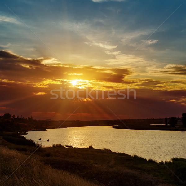 劇的な オレンジ 日没 川 水 風景 ストックフォト © mycola
